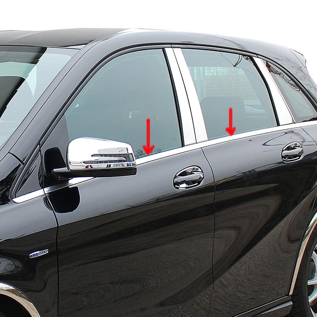Γυαλισμένες ανοξείδωτες βέργες για τα τσιμουχάκια παραθύρων για Mercedes Benz B-Klasse W246.