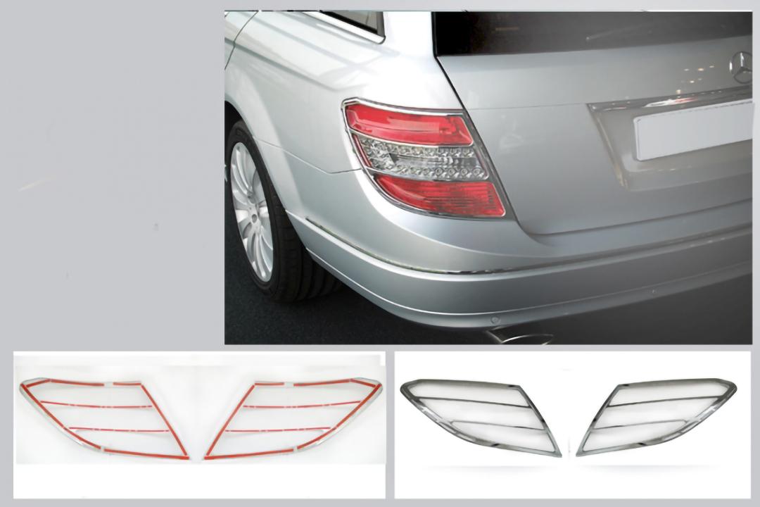 Χρώμια πίσω φαναριών με σχισμές για Mercedes Benz C-Class W204 Τ-μοντέλα