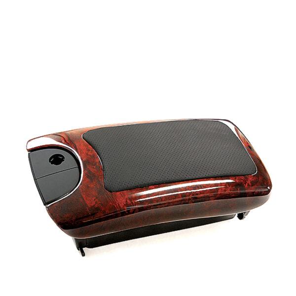 Βραχιόνιο με ντουλάπι με ξύλινη επένδυση Burl / Wurzel με μαύρο δέρμα για Mercedes Benz CLK W209
