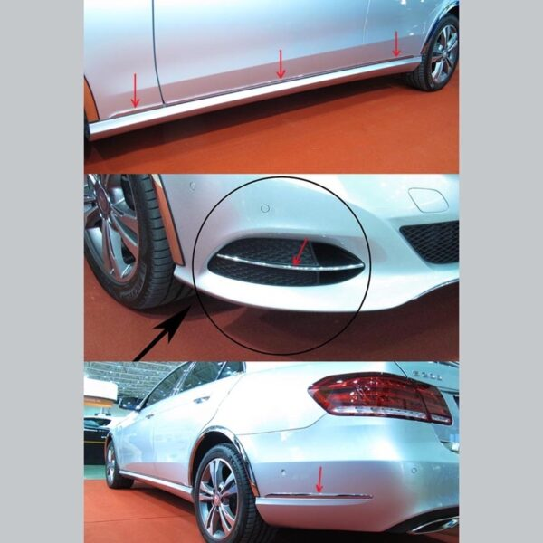 Stainles steel side strips for Mercedes Benz E-Class W212 sedan-station wagon 05-2013 - 02-2016-only for facelift