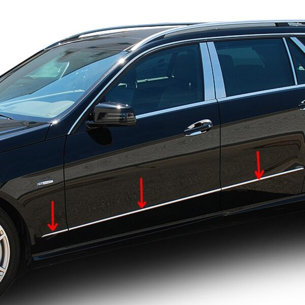 Stainles steel side strips for Mercedes Benz E-Class W212 sedan-station wagon 2009 - 04-2013.Sel.1